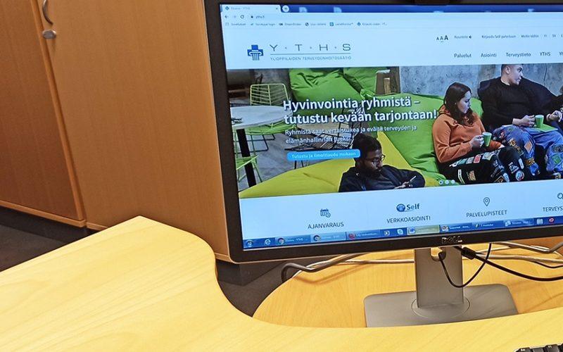 datorskärm där hemsidan syns