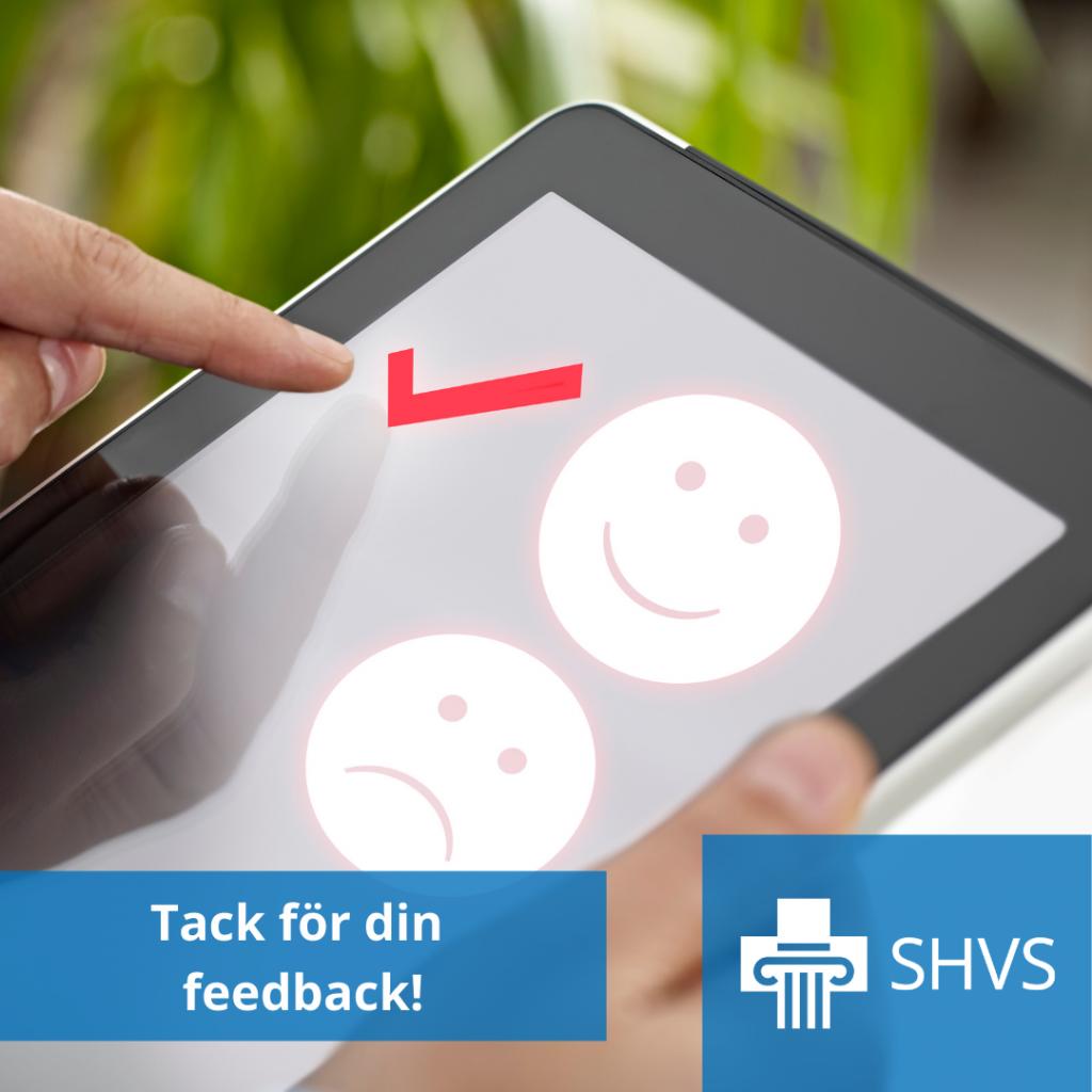 Du kan ge feedback med läsplattan.